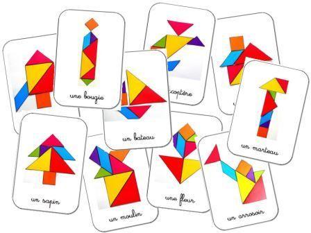 Tangram Montessori 7 wooden pieces : Montessori material